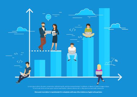 Business graph growth concept illustration
