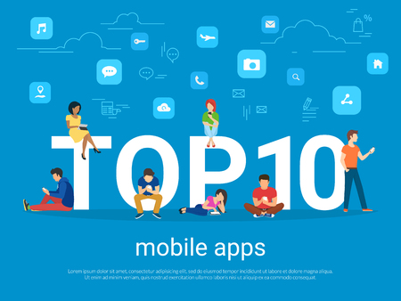 using smart phone: Top 10 mobile apps and people with gadgets using smartphones Illustration