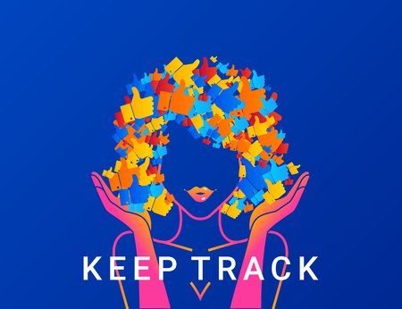 likes: Keep track concept illustration of young woman addicted to social networks, likes and blogging. Modern gradient design of woman with hair full of thumb up symbols Illustration