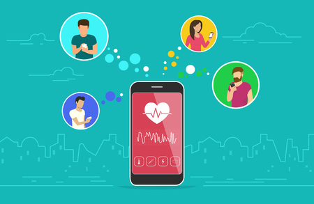 Health care mobile app concept design. Flat vector illustration of young men and women in circle icons using smartphone mobile app for tracking heart beating data and getting information of pulse rate