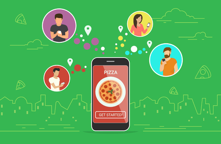 Ordering pizza online concept design.
