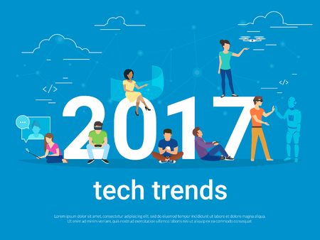 2017 tech trends concept illustration Stock Illustratie