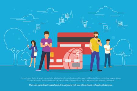 smartphone apps: Mobile banking concept illustration Illustration