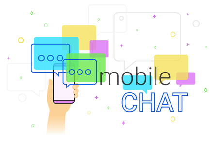 Mobile chat and messenger on smartphone creative concept illustration