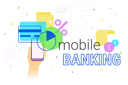 smartphone apps: Mobile banking and accounting on smartphone creative concept illustration