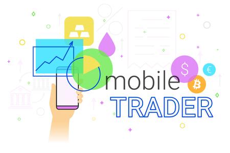smartphone apps: Mobile trader app on smartphone creative concept illustration