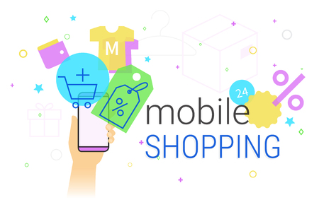 Mobile shopping on smartphone concept illustration Illustration
