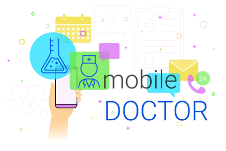 smartphone apps: Mobile doctor and medicine research results on smartphone concept illustration