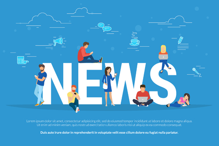 Online breaking news concept vector illustration. Young men and women are standing near big letters and using their own smart phones for reading news. Flat design of broadcasting on blue background