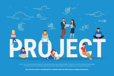 Illustration de concept de travail d'équipe projet de gens d'affaires utilisant des ordinateurs portables. Gestionnaire, concepteur, programmeur et autres collègues travaillant ensemble en équipe. Design plat pour la bannière de site Web et la page de destination