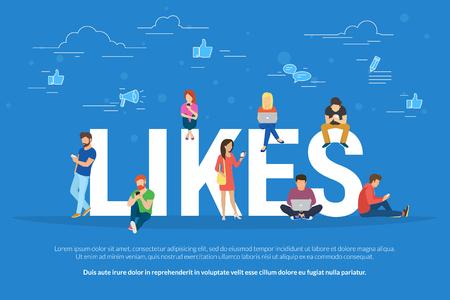 Vlakke vector concept illustratie van jonge mensen die mobiele gadgets gebruiken, zoals laptop, tablet pc en smartphone voor sociale netwerken, lezen van nieuws en publiceren van foto's voor likes.