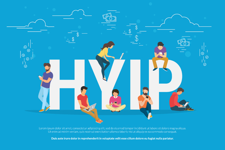 using smartphone: HYIP concept vector illustration of young people using laptop and smartphone for online funding new startup or making investments for project. Flat design of high yield investment program letters