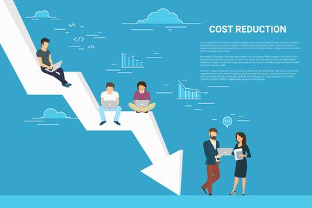 Concetto di riduzione dei costi aziendali illustrazione delle persone che lavorano insieme come squadra Vettoriali