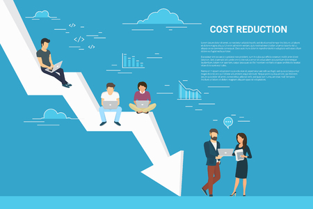 Business cost reduction concept illustration of people working together as team