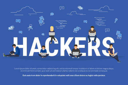 ddos: Hosting concept vector illustration of young people using laptops for internet and working in web