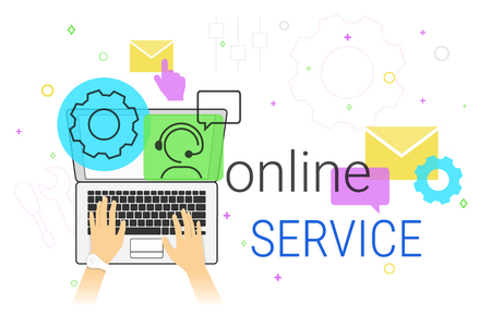select: Online service and technical support on laptop concept vector illustration