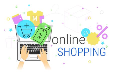 shopper: Online shopping on laptop concept vector illustration