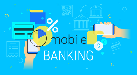Mobile banking and accounting on smartphone creative concept illustration
