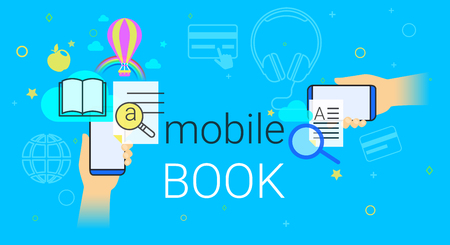 Mobile book and electronic library app on smartphone concept vector illustration