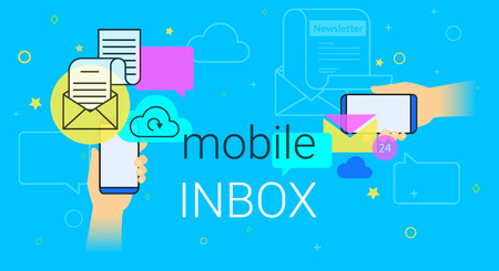 Mobile inbox sync app on smartphone concept vector illustration, Human hands hold smart phone with email app for receiving newsletters and network notification, E-mail synchronization blue background