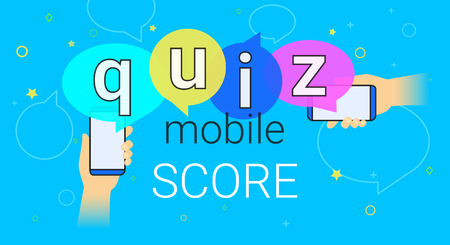 telephone interview: Mobile quiz interview and online high score game on smartphone concept illustration, Human hands hold smart phone with app for asking, examing and answering questions, Creative quiz speech bubbles