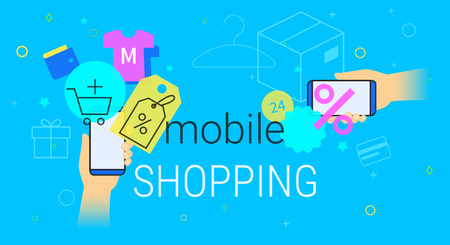 Mobile shopping on smartphone concept illustration, Human hands hold smart phone with app for fast ordering and buying goods and services with promo price and discounts, Creative e-commerce blue banner