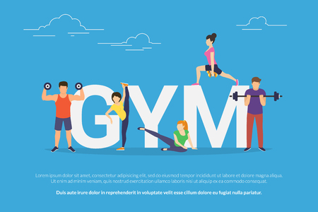 Gym concept vector illustration of young people doing workout with equipment