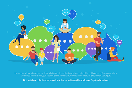 Speech bubbles for comment and reply concept flat vector illustration