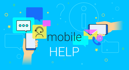 Mobile help and online support on smartphone concept illustration. Smart phone with app for chatbot assistance and emergency support. Creative costumer helpdesk banner blue background