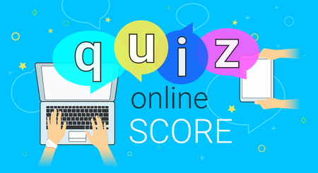 Online quiz interview and online high score game on smartphone concept illustration