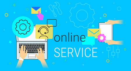 Online service and technical support on laptop concept vector illustration