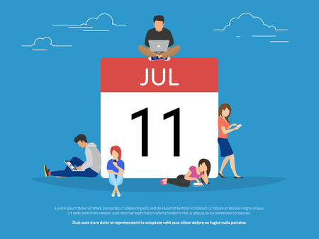 Calendar symbol with people concept flat vector illustration