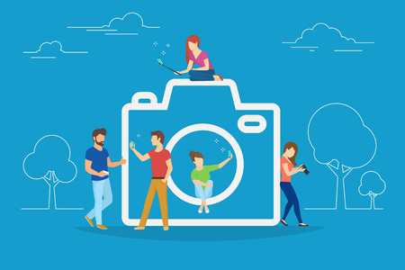 Camera and photo concept vector illustration