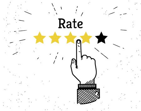 five star: Human hand leaving five stars rating Illustration