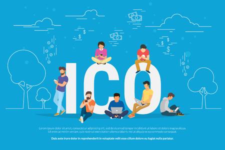 ICO concept illustration Illustration