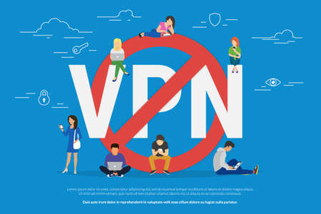 using smartphone: VPN prohibition concept vector illustration of young people using laptop and smartphone via virtual private networks. Flat people near red symbol of blocking vpn services, securely access and privacy Stock Photo