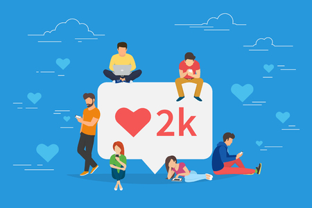 I like it social media bubble with red heart symbol Illustration