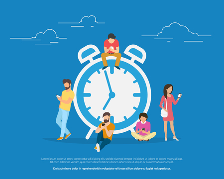 Alarm clock and people concept vector illustration