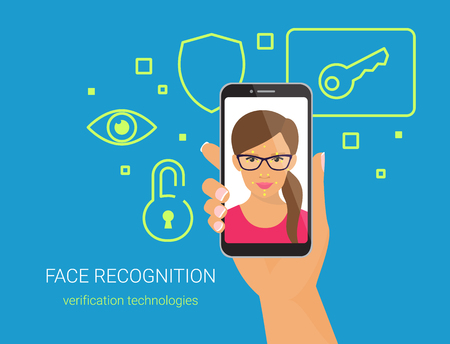 Face identification of woman wearing glasses.
