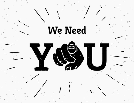 Retro black we need you hand pointing finger Stock Illustratie