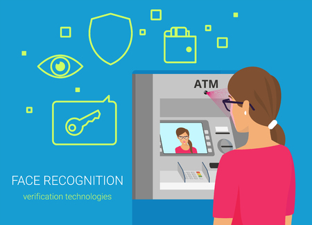 bankomat: Face recognition and atm identification. Flat vector illustration of woman getting access to atm by face recognition technology. Young woman wearing glasses standing near bankomat with face on screen