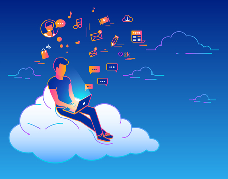 Young man sitting on the cloud in the sky and working with laptop. Gradient line vector illustration of social networking, searching news, sending email and texting to friends