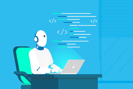 Robot online assistance and machine learning Stock Illustratie