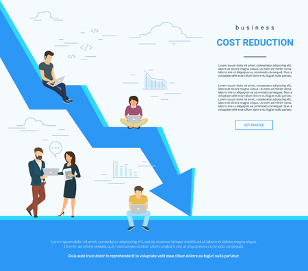 Business cost reduction concept illustration. Vettoriali