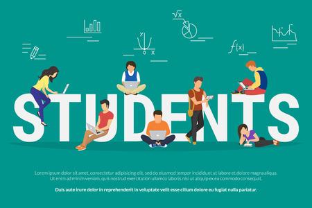 Ilustracja wektorowa studentów młodych ludzi za pomocą gadżetów do e-learningu, studiowania na odległość i edukacji online