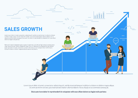 Business graph growth concept white illustration