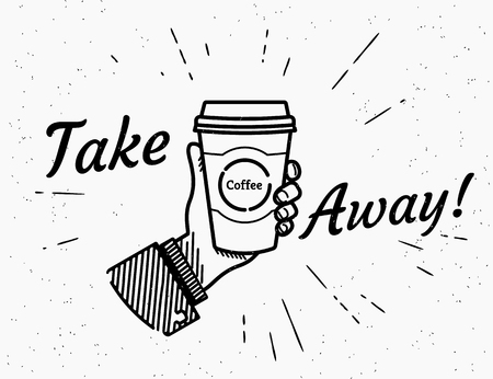 Take away coffee banner. Vectores