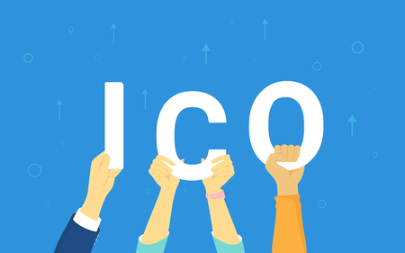ICO in human hands concept illustration