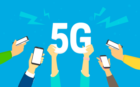Flat human hands hold big 5G symbol. Addicted to networks people concept illustration of young men and women happy to have a high speed wireless connection 5G via mobile smartphone. Illustration