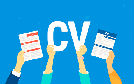 CV letters concept vector illustration of business people searching job and hiring. Flat human hands hold white letters and fullfilled cv papers on blue background Illustration